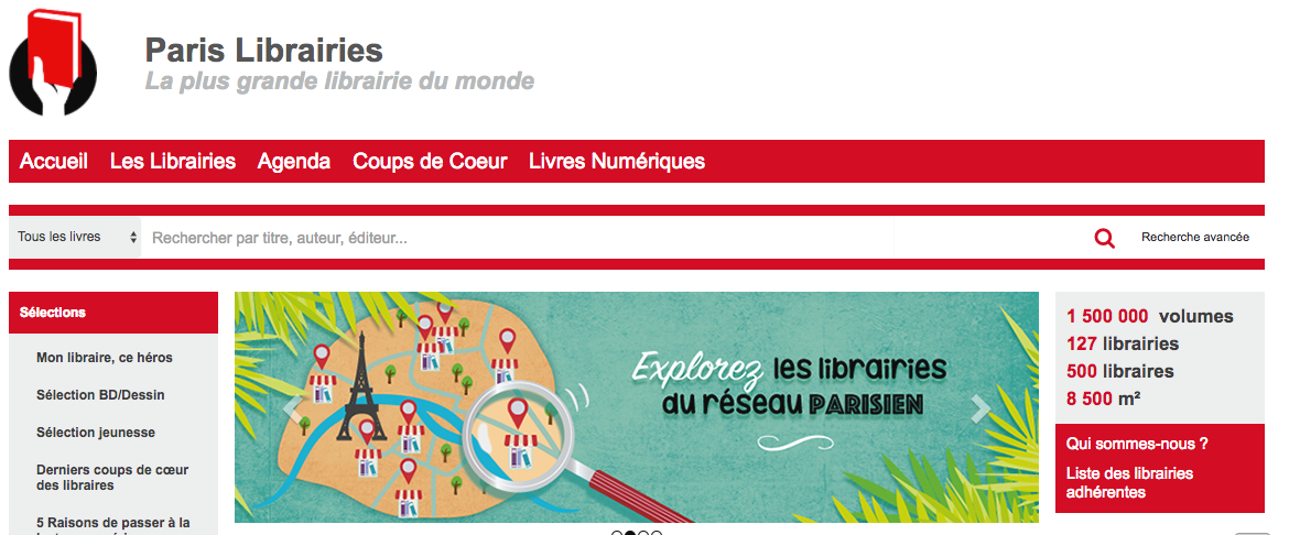 Paris Librairies网站