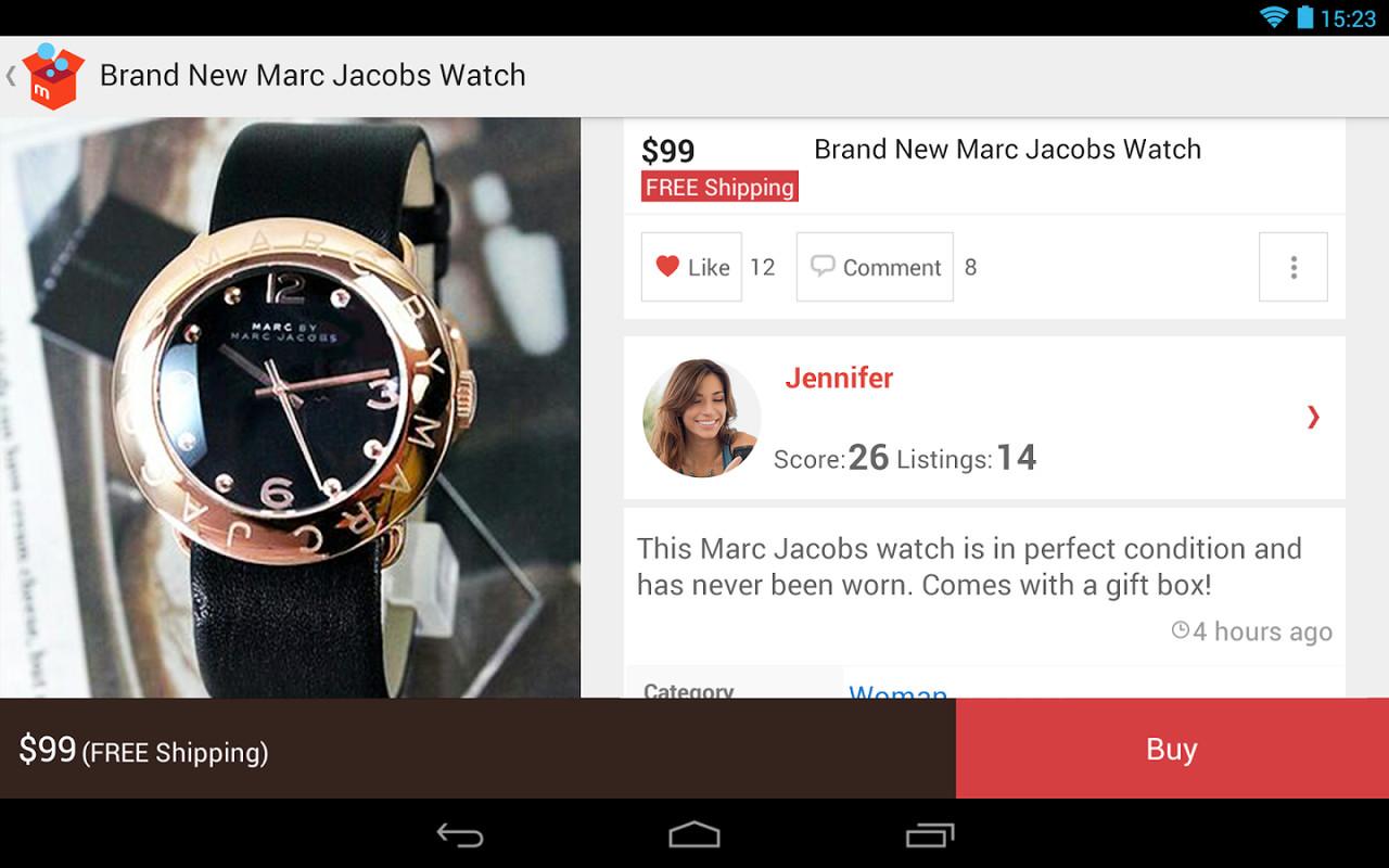 一位名叫Jennifer的女孩在Mericari美国版上卖手表