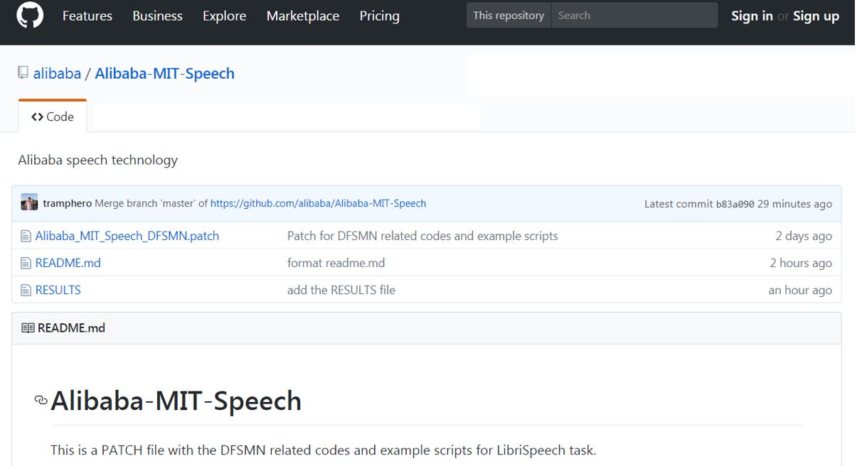 图1:阿里在GitHub平台上开源了自主研发的DFSMN语音识别模型