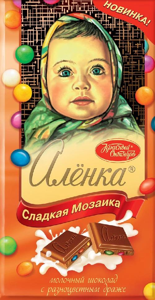 """1965年问世的苏联传奇巧克力""""大头娃娃""""(英文名Alyonka)"""