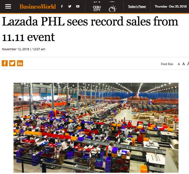 外媒报道双11Lazada菲律宾站点销售增长迅速